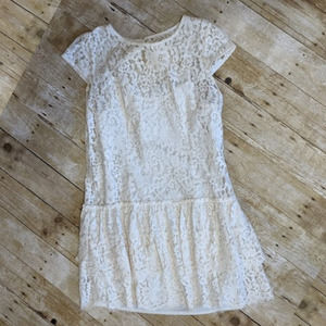 LOFT Ivory Lace Tiered Mini Dress